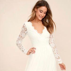 Lulu's Awaken My Love White Long Sleeve Lace Dress